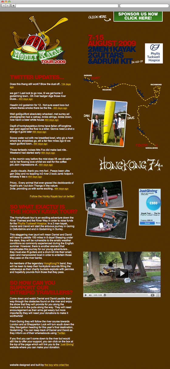 Honky Kayak Tour Website Screenshot